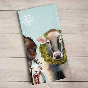 holiday collection - festive cow and farm tea towel