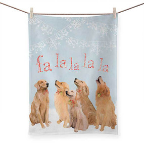 holiday collection - 5 goldens singing tea towel