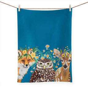 floral & fauna tea towel