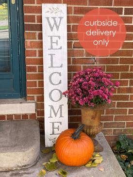"""white welcome porch board, 8"""" x 46.5"""""""