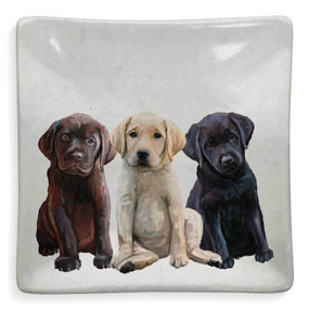 lab puppies decorative dish