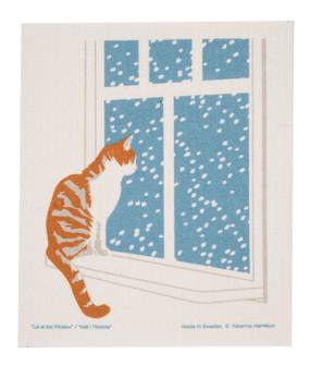 cat in window swedish dish cloth