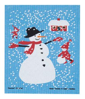 snowman and house swedish dish cloth