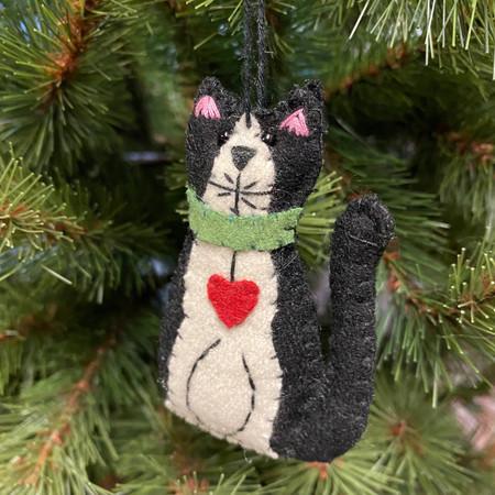 felt black and white kitty ornament
