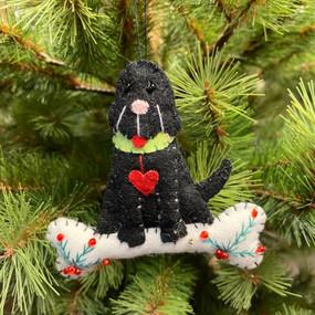 felt black dog ornament
