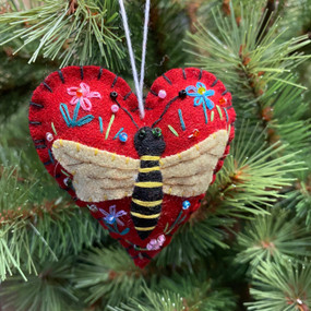felt bee heart ornament