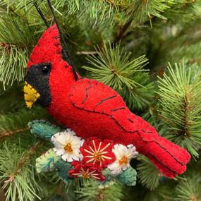 felt cardinal and flowers ornament