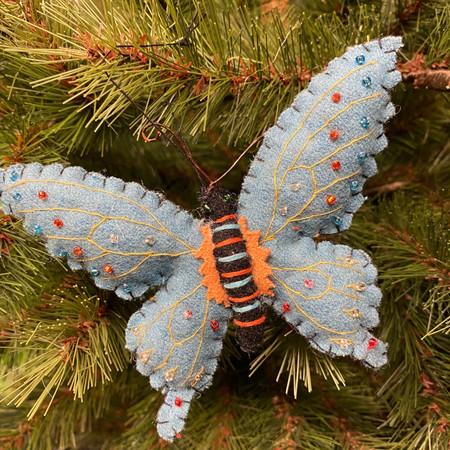 felt blue butterfly ornament