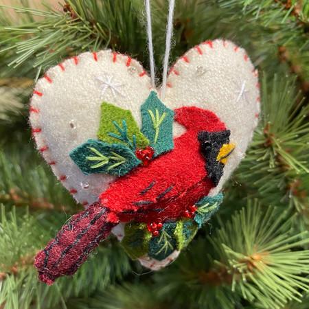 felt heart with cardinal ornament