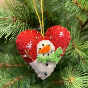 felt heart with snowman ornament