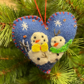 felt heart with two snowmen ornament
