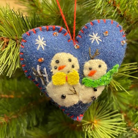 felt heart with two snowmen ornament