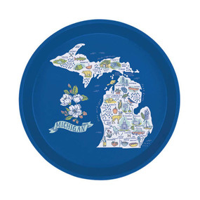 illustrated michigan map serving tray