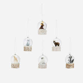 mini woodland animal snow globe ornament, moose