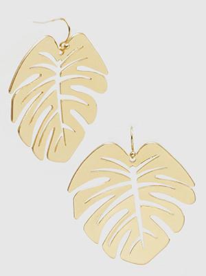 monstera leaves dangle earrings, gold