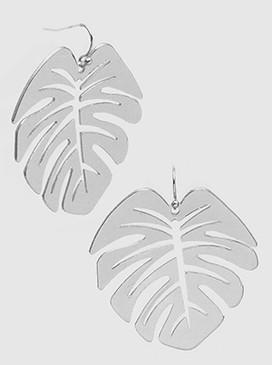 monstera leaves dangle earrings, rhodium