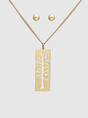 tree of life necklace/earrings set, worn gold
