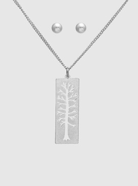 tree of life necklace/earrings set, worn silver