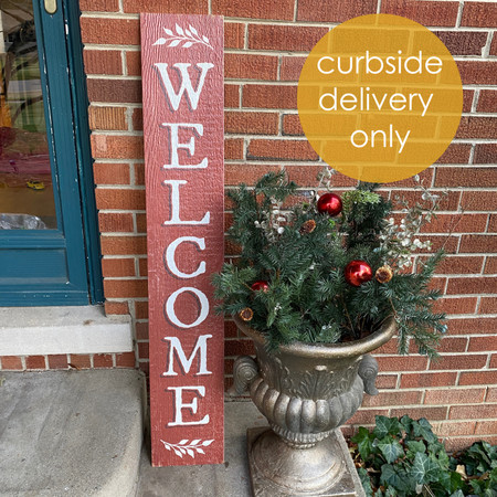 rustic red welcome porch board
