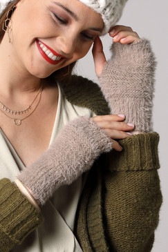 super soft fingerless gloves, beige
