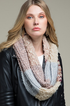 multi colored striped infinity scarf, blush