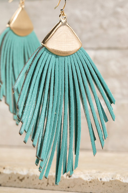 feather shape leather tassel earring, mint