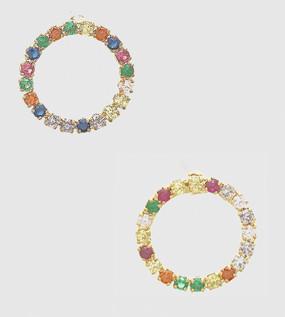cubic zirconia circle delicate stud earrings