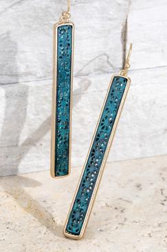 hammered metal filigree bar earrings
