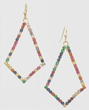 cubic zirconia geometric shaped delicate earrings