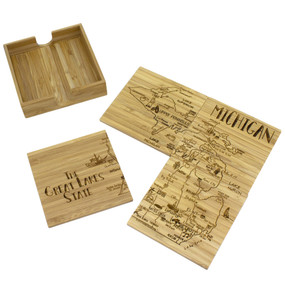 bamboo michigan puzzle coasters