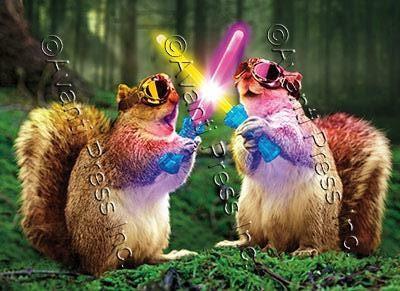 squirrels with glow sticks birthday