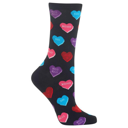 womens conversation heart crew socks