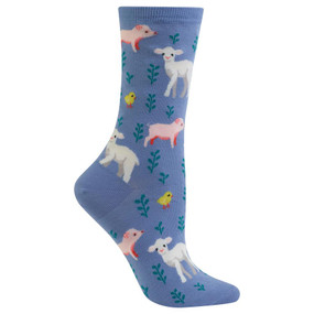 womens piglet, lamb and chick crew socks
