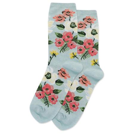 womens spring flower crew socks