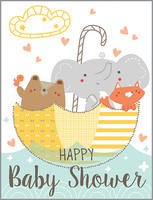 glitter animals in umbrella baby shower card