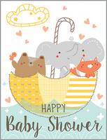 glitter animals in umbrella baby shower card