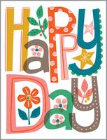 glitter happy day birthday card