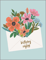 floral envelope birthday card