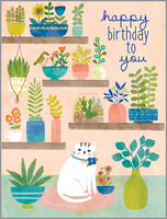 plants and kitty birthday card