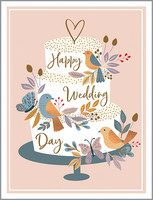 cake and birds wedding card