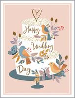cake and birds wedding card
