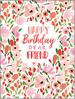 glitter sweet pink flowers birthday card