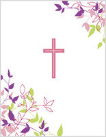 pink cross with scripture communion card