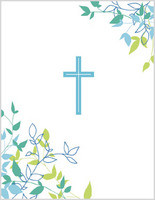 blue cross with scripture communion card