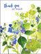 blue and green hydrangea thank you card