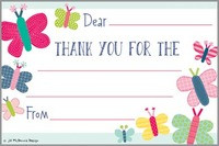 children's butterfly thank you notes