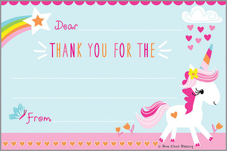 children's unicorn rainbow thank you notes