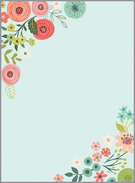 teal and coral flowers memo pad