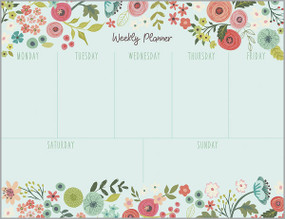 coral and blue flower weekly planner