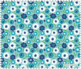 blue and white posies microfiber cloth